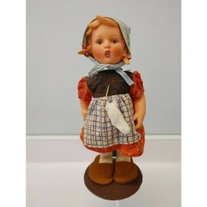 "M J Hummel Sock Darning Girl Vinyl Doll 12"", Stand"